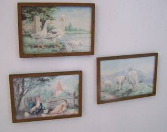 """Vintage 50's  """"COUNTRY SCENE MAGNETS"""" Set of 3"""