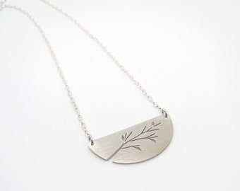 Half Moon Single Branch tree art sterling silver pendant - made to order