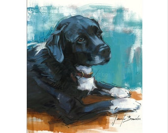 Dog Art - Matted Print of Original Oil Painting - Dogs, Puppy, Animal Lovers, Happy Art, Black and White, Fur, Boy, Girl,