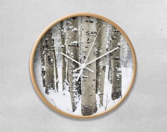 Winter Forest Wall Clock, Forest Clock, Birch Forest Clock, Birch Trees, Cool Office Decor, Nature Wall Clock, White Kitchen Clock