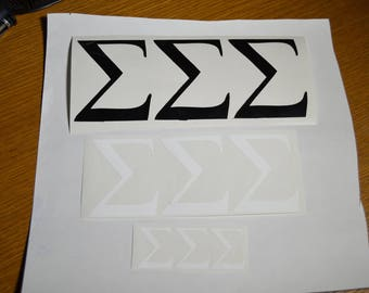 Sigma Sigma Sigma - Greek Letters. (Tri-Sigma) self-adhesive vinyl decals, perfect for cars, laptops, cups and more.