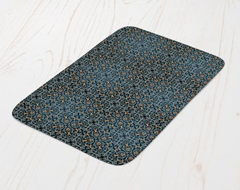 Marrakech Bath Mat | Blue Moorish pattern Bath Mat | Tiles Pattern Bath Mat