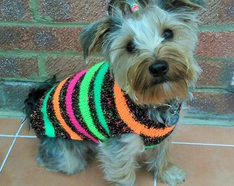Dog jumper XS - XXL Neon Stripe With Harness Hole