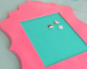 Teal Chevron and Hot PInk Framed Pin Board or Magnetic Board Turqouise Girls Room Decor Bulletin Board