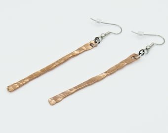 Long Bar Earrings, Stick Earrings, Copper Earrings, Minimal Earrings, Minimalist Jewelry, Long Earrings, Boho Earrings