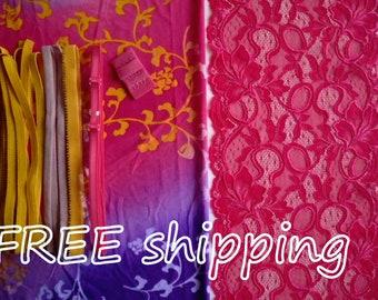 LINGERIE Kit Summer Tie-dye Purple & Pink for 1 BRA + Panty FREE Shipping by Merckwaerdigh