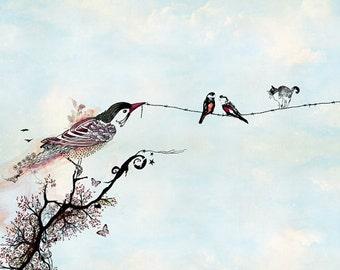Birds art, Birds on a wire, Pen and ink art, Bird illustration, light blue