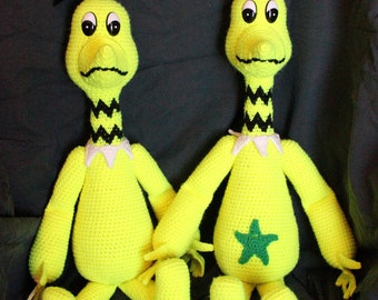 Sneetches, Star-belly and Plain-belly, pair, crocheted amigurumi