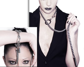 Valentine Bdsm - Slave Collar + Cuff  SET - Lariat + Bracelet - Submissive Gift  - Bondage - Cyberpunk - Sexy -  Sansa - Mad Max - FORBIDDEN