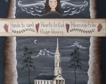 Hands to Work, Hearts to God, Blessings to Be, a Shaker Blessing. A primitive folkart nighttime Angel, Church print by Donna Atkins