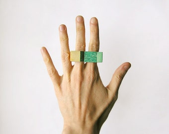 Gemstone geometric wooden Amazonite Ring, statement knuckle double ring, gemstone fashion jewelry, color block minimalist, emerald, beige