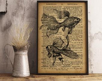 Goldfish print Nautical poster Sea decor, Goldfish poster, Fish Art Home Decor Gift Poster Goldfish wall art Goldfish gift R41