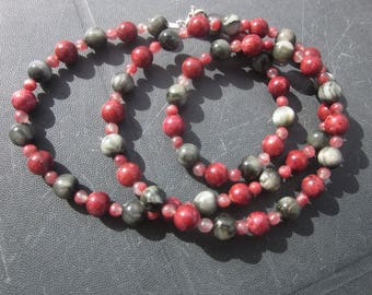 grey Falcon Eye Thulite Necklace