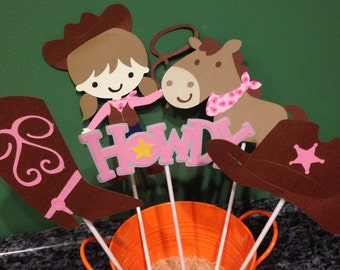 Five Piece Cowgirl Centerpiece