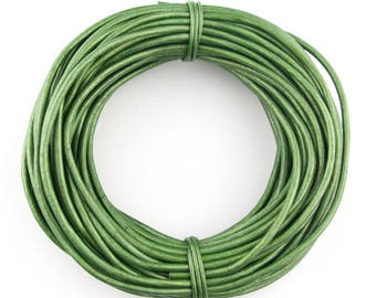 Green Metallic Round Leather Cord 1.5mm 100 meters (109 yards)