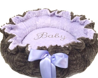 Dog Bed, Pet Bed, Personalized Dog Bed, Lavender and Gray Minky Dog Bed