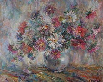 Vintage ORIGINAL OIL PAINTING  European Impressionist Still life Flowers painting by Chebotaru Tamara Signed artwork Gift for best price
