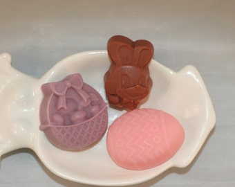 Easter soaps set of six easter bunny, basket, egg scented in Bamboo & White Grapefruit