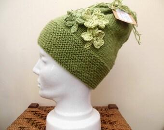 Women's Green Hat, Shenanigans Hat, Slouchy Beanie, Shamrock, Four leaf Clover, St Patrick's Day Hat, Hand Knit Winter Hat Ladies Fashion