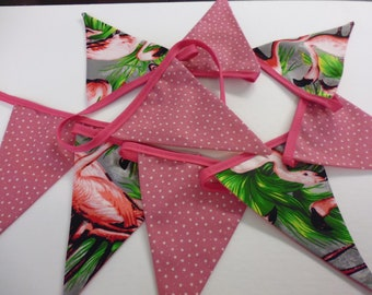 Handmade Flamingo / Star  bunting  9 Flags  2MT long