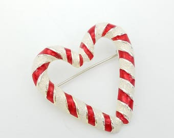 Vintage Silver, Red & White Candy Cane Heart Brooch, Signed Danecraft