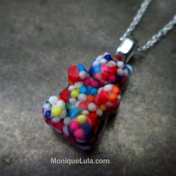 Rainbow Candy Sprinkle Bear Necklace