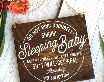 Baby Sleeping Sign, No Soliciting, Protective Dog Sign, Sleeping Baby Sign, Do Not Disturb Sign,No Solicitation, Baby Signs, Baby Shower 8x7