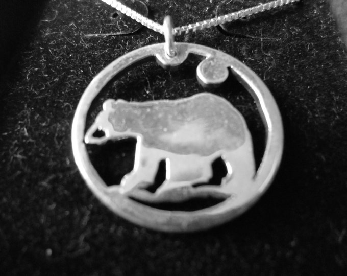 Bear necklace quarter size w/sterling silver chain