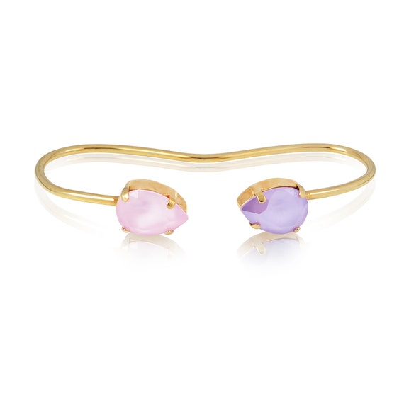 Crystal Drop Palm Cuff in lilac and powder pink
