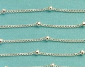 Sterling Silver Satellite Chain- WHOLESALE CHAINS (chain -1mm) (bead 2mm-)