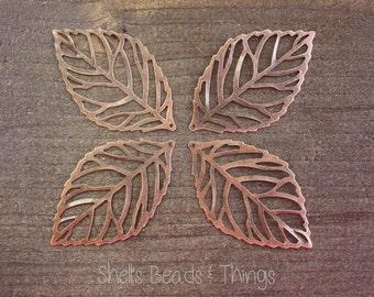 Copper Metal Leaf,  Skeleton Leaf, Leaf Charm, Leaf Pendant, Jewelry Making Supply