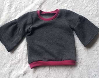 Little Girls Grey Bell Sleeve Sweatshirt