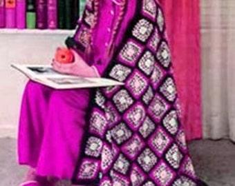 CROCHET PATTERN - Granny Squares Afghan - Lap Blanket Throw - PDF Instant Download - Motif Afghan - Multi Colored Cozy Blanket Pattern