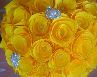 Large Handmade Paper Wedding Bouquet Bride or Bridesmaids Bouquet ANY Colors Free matching Boutonniere Yellow and Gray