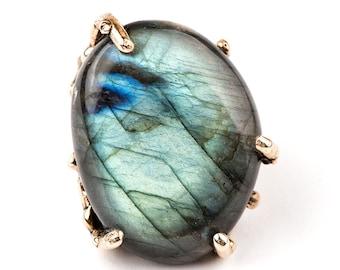 Spectrolite Labradorite Statement Ring - One of a kind piece