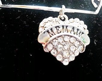 Memaw bangle, adjustable charm bracelet, silver, crystal, free shipping and gift box, ready to ship