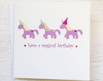 Unicorn Birthday card - Unicorn card - hand embellished unicorn birthday card  - unicorns - magical birthday card