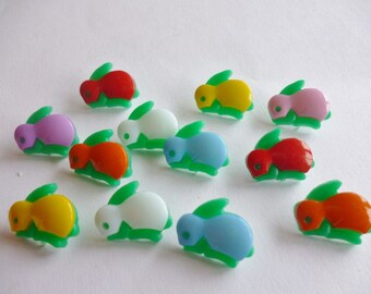 buttons 10 bunnies multicolored acrylic 16mm
