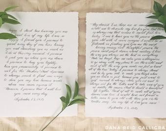 """Handwritten Calligraphy Wedding Vows, 8x10"""""""