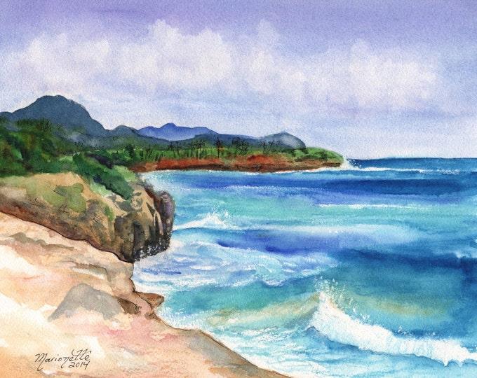 Mahaulepu - Kauai South Shore Beach - Hawaii Art Print - Beach Art - Kauai Surfing Art - Beach Sand Ocean Print - Hawaiian Landscape Decor