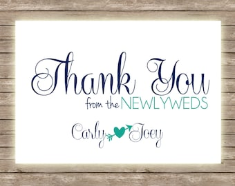 Newlywed Personalized Blank Inside Thank You Cards - Set of 20