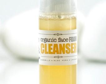 FACE FOAM CLEANSER • Organic Facial Wash Foam, sensitive skin wash, foam face wash, organic face cleanser, organic scincare, bath and beauty