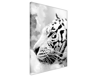 Black and White White Tiger Framed Print Canvas Wall Art Pictures Decoration Photos Nature Images Wild Cat