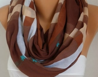 Brown&Beige White Plaid Cotton Scarf,Soft,Tartan Scarf,Mother's ,Birthday Gift,Cowl, Oversized Gift For Her, Women Fashion Accessories