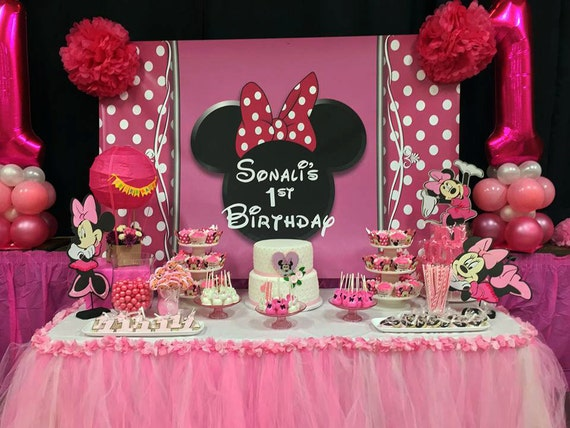 Minnie Mouse Inspired Birthday Baby Shower Kids Party Table