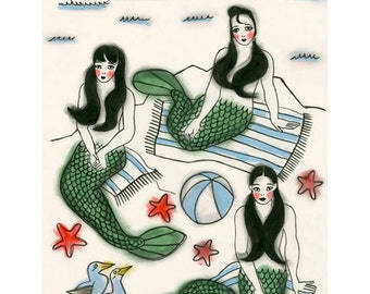 "Mermaid Wall Art Print -  A Day Out - 8.3"" X 11.7"" print"