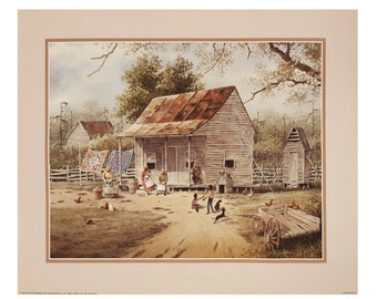 Working On Chores By T. Coleman 16x20 Black Art Print