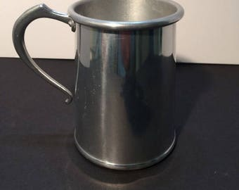 Aluminum Italian made tankard with cast handle and hand riveted. Vintage