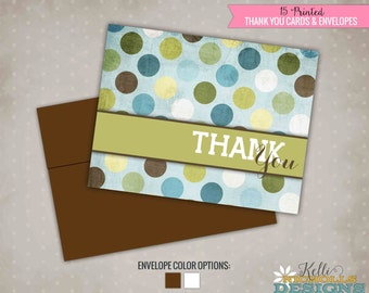Boy Baby Shower Thank You Notes, Blue & Green Polka Dot Thank You Cards, New Baby