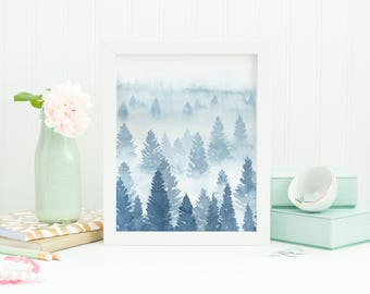 Printable blue forest art, blue misty forest, pine tree silhouettes, tree watercolor painting, foggy forest, printable watercolor forest